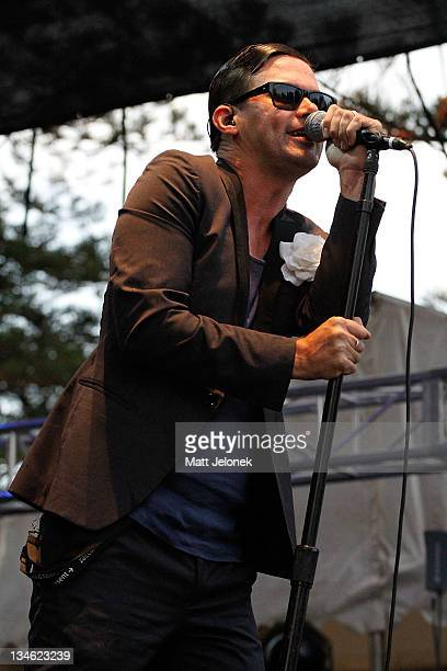 Phil Jamieson of Grinspoon performs on stage on at the Perth 2011 Worlds Village on Esplanade Park on December 3 2011 in Perth Australia