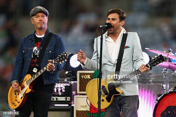 Phil Jamieson performs with his band Grinspoon during the NRL Preliminary Final match between the South Sydney Rabbitohs and the Manly Warringah Sea...