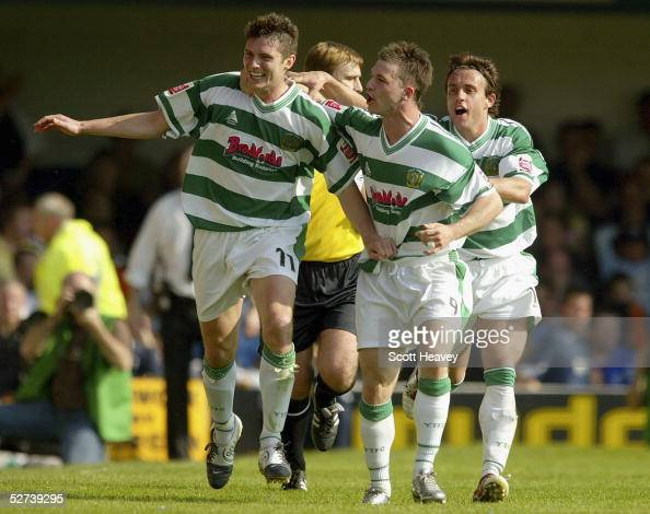 Phil Jevons of Yeovil celebrates his goal with Andy Lindegaard and Kevin Gall during the Coca Cola Championship Division Two match between Southend...