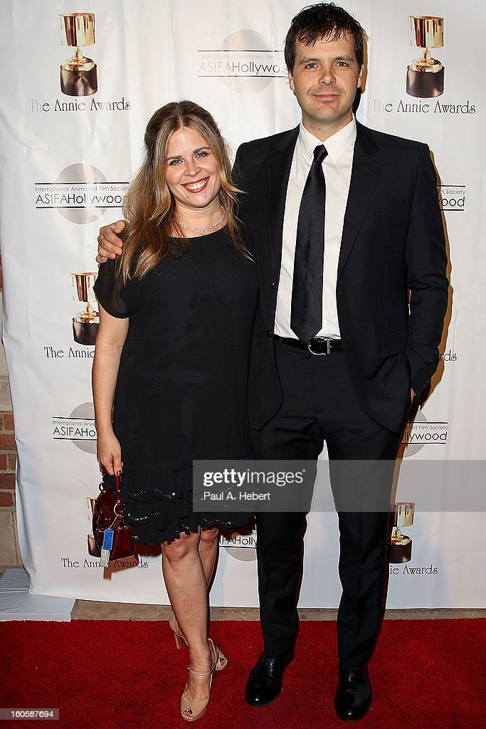 Phil Johnston (R) and Jennifer Lee arrive at the 40th Annual Annie Awards held at Royce Hall on the UCLA Campus on February 2, 2013 in Westwood, California.