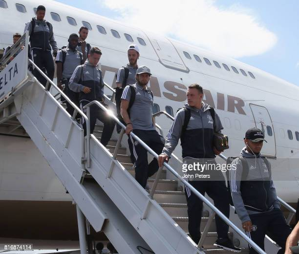 Phil Jones Daley Blind David de Gea Ander Herrera Timothy FosuMensah and Matteo Darmian of Manchester United arrive in Salt Lake City ahead of the...