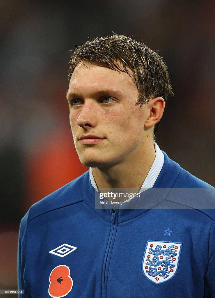 Phil Jones of England looks on prior to the international friendly match between England and Spain at Wembley Stadium on November 12, 2011 in London, England.