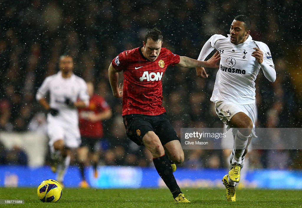 Phil Jones of Manchester United and Mousa Dembele of Tottenham Hotspur compete for the ball during the Barclays Premier League match between Tottenham Hotspur and Manchester United at White Hart Lane on January 20, 2013 in London, England.