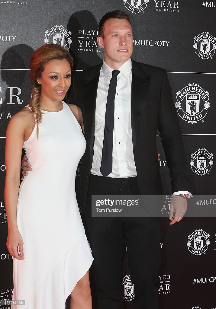 Phil Jones of Manchester United arrives with his partner at the club's annual Player of the Year awards at Old Trafford on May 2, 2016 in Manchester, England.