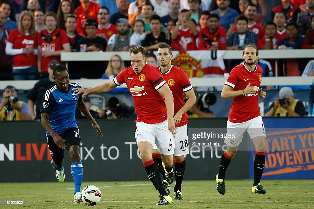 <a gi-track='captionPersonalityLinkClicked' href=/galleries/search?phrase=Phil+Jones+-+Soccer+Player&family=editorial&specificpeople=7841291 ng-click='$event.stopPropagation()'>Phil Jones</a> #4 of Manchester United dribbles the ball during the first half of his International Champions Cup match against San Jose Earthquakes on July 21, 2015 at Avaya Stadium in San Jose, California.