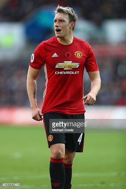 Phil Jones of Manchester United during the Premier League match between Swansea City and Manchester United at the Liberty Stadium on November 6 2016...