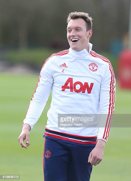 Phil Jones of Manchester United in action during a first team training session at Aon Training Complex on April 8 2016 in Manchester England