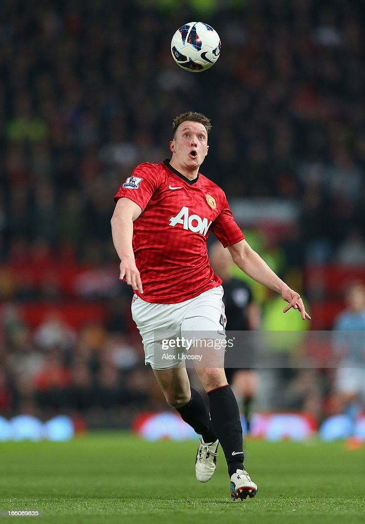 Phil Jones of Manchester United in action during the Barclays Premier League match between Manchester United and Manchester City at Old Trafford on April 8, 2013 in Manchester, England.