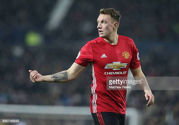 Phil Jones of Manchester United in action during the Premier League match between West Bromwich Albion and Manchester United at The Hawthorns on...