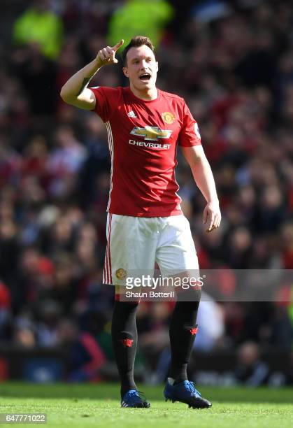 Phil Jones of Manchester United in action during the Premier League match between Manchester United and AFC Bournemouth at Old Trafford on March 4...