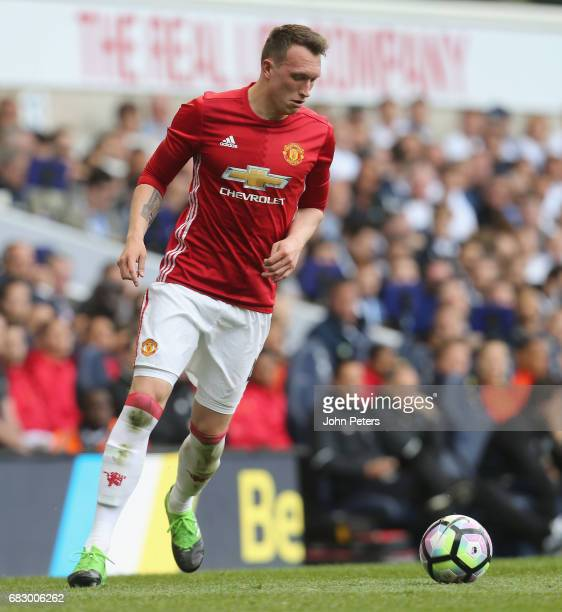 Phil Jones of Manchester United in action during the Premier League match between Mancheser United and Tottenham Hotspur at White Hart Lane on May 14...