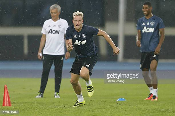 Phil Jones of Manchester United in action during the team training session for the 2016 International Champions Cup match between Manchester City and...