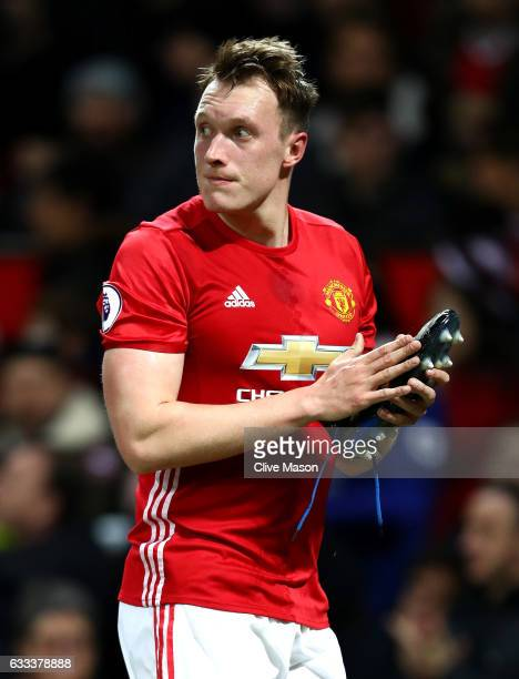 Phil Jones of Manchester United leaves the field during the Premier League match between Manchester United and Hull City at Old Trafford on February...