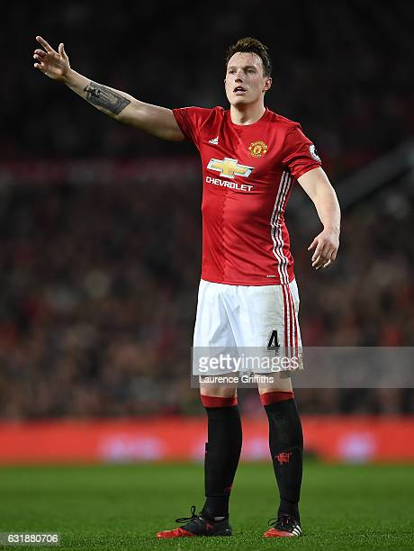 Phil Jones of Manchester United looks on during the Premier League match between Manchester United and Liverpool at Old Trafford on January 15 2017...