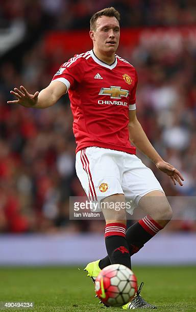 Phil Jones of Manchester United on the ball during the Barclays Premier League match between Manchester United and Sunderland at Old Trafford on...