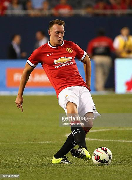 Phil Jones of Manchester United passes against Paris SaintGermain during a match in the 2015 International Champions Cup at Soldier Field on July 29...