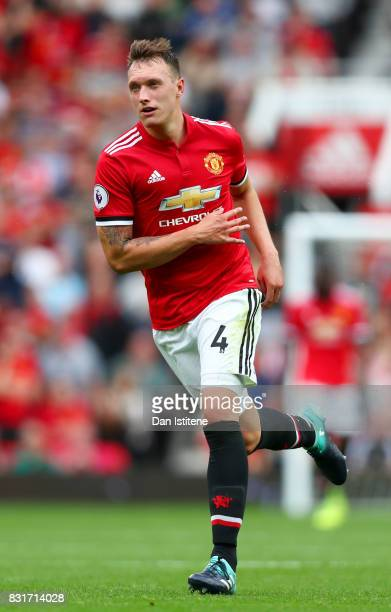 Phil Jones of Manchester United runs during the Premier League match between Manchester United and West Ham United at Old Trafford on August 13 2017...