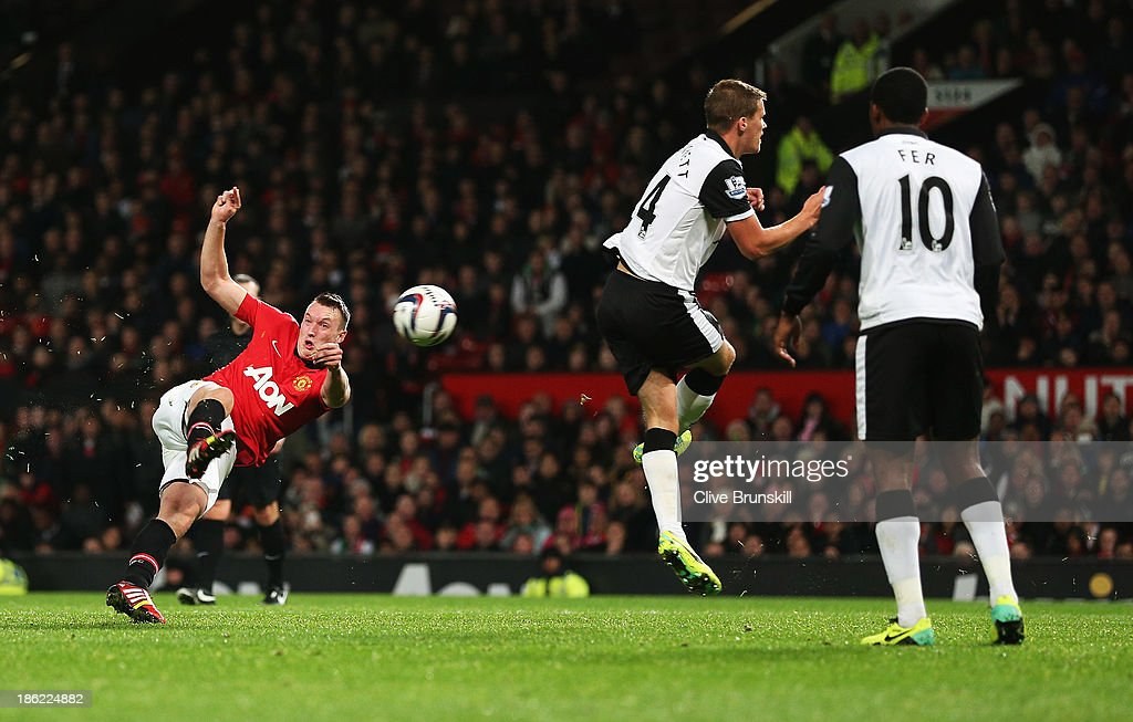Phil Jones of Manchester United scores his goal during the Capital One Cup fourth round match between Manchester United and Norwich City at Old Trafford on October 29, 2013 in Manchester, England.