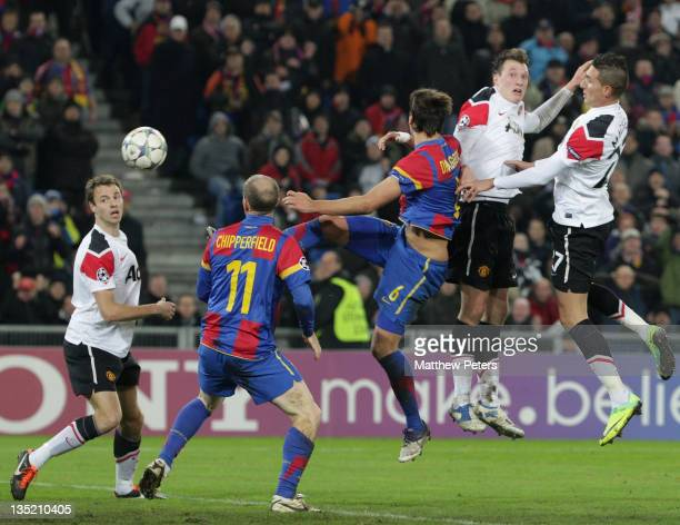 Phil Jones of Manchester United scores their first goal during the UEFA Champions League Group C match between FC Basel and Manchester United at St...