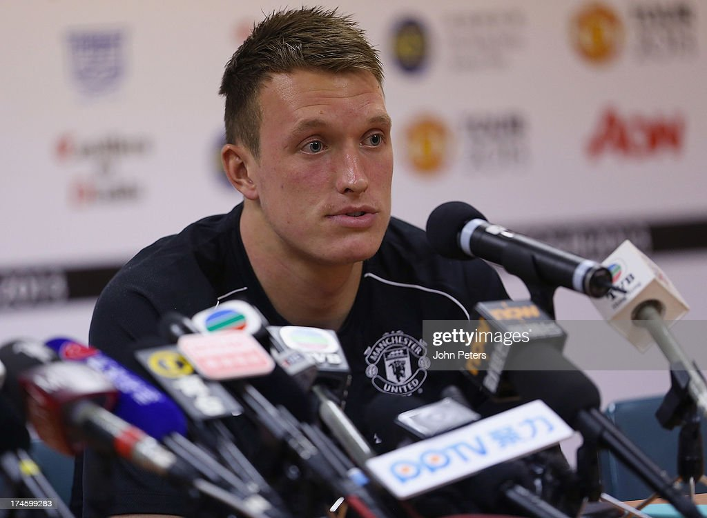 Phil Jones of Manchester United speaks during a press conference as part of their pre-season tour of Bangkok, Australia, Japan and Hong Kong on July 28, 2013 in Hong Kong, Hong Kong.