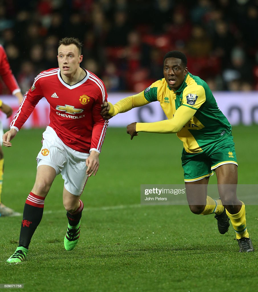<a gi-track='captionPersonalityLinkClicked' href=/galleries/search?phrase=Phil+Jones+-+Fotbollsspelare&family=editorial&specificpeople=7841291 ng-click='$event.stopPropagation()'>Phil Jones</a> of Manchester United U21s in action during the U21 Premier League match between Manchester United U21s and Norwich City U21s at Old Trafford on February 8, 2016 in Manchester, England.