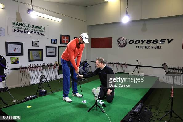 Phil Kenyon of England putting coach at his studio in the Harold Swash Putting School working with student Christopher Cannon at Formby Hall Golf...