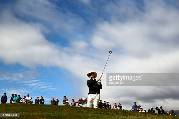 Phil Keoghan tees off during round three of the New Zealand Open at The Hills Golf Club on March 1 2014 in Queenstown New Zealand