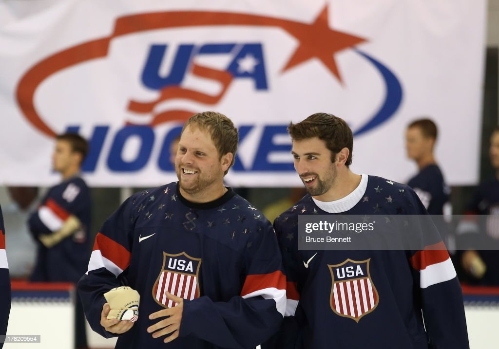 <a gi-track='captionPersonalityLinkClicked' href=/galleries/search?phrase=Phil+Kessel&family=editorial&specificpeople=537794 ng-click='$event.stopPropagation()'>Phil Kessel</a> and <a gi-track='captionPersonalityLinkClicked' href=/galleries/search?phrase=Nick+Leddy&family=editorial&specificpeople=5894600 ng-click='$event.stopPropagation()'>Nick Leddy</a> take part in a press conference introducing the 2014 USA Hockey Olympic Team candidates at the Kettler Capitals Iceplex on August 27, 2013 in Arlington, Virginia.