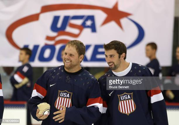 Phil Kessel and Nick Leddy take part in a press conference introducing the 2014 USA Hockey Olympic Team candidates at the Kettler Capitals Iceplex on...