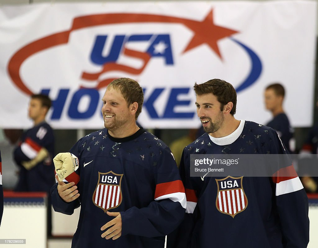 Phil Kessel and Nick Leddy take part in a press conference introducing the 2014 USA Hockey Olympic Team candidates at the Kettler Capitals Iceplex on August 27, 2013 in Arlington, Virginia.