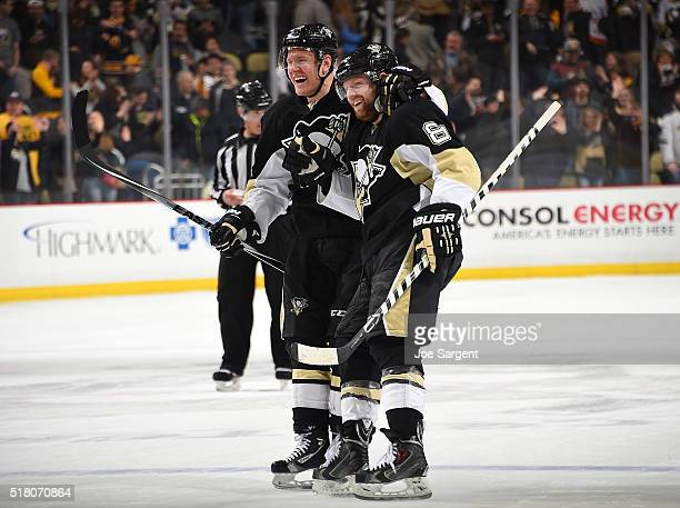 Phil Kessel celebrates his shootout goal with Patric Hornqvist of the Pittsburgh Penguins after a 54 win over the Buffalo Sabres at Consol Energy...