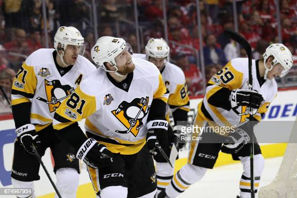 Phil Kessel of the Pittsburgh Penguins celebrates after scoring a third period goal against the Washington Capitals in the third period of Game Two...