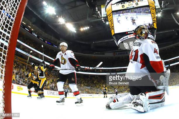 Phil Kessel of the Pittsburgh Penguins celebrates after scoring a goal against Craig Anderson of the Ottawa Senators during the third period in Game...