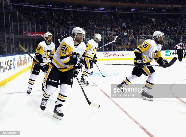 Phil Kessel of the Pittsburgh Penguins celebrates his goal at 47 seconds of the first period against the New York Rangers at Madison Square Garden on...
