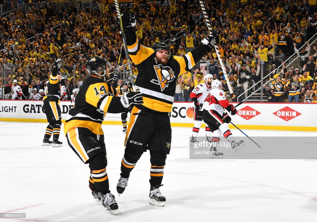 Phil Kessel #81 of the Pittsburgh Penguins celebrates his third period goal against the Ottawa Senators in Game Two of the Eastern Conference Final during the 2017 NHL Stanley Cup Playoffs at PPG Paints Arena on May 15, 2017 in Pittsburgh, Pennsylvania.