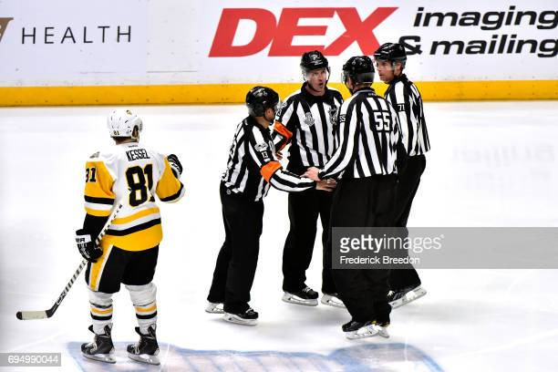 Phil Kessel of the Pittsburgh Penguins looks on as the referees review the play during the second period against the Nashville Predators in Game Six...