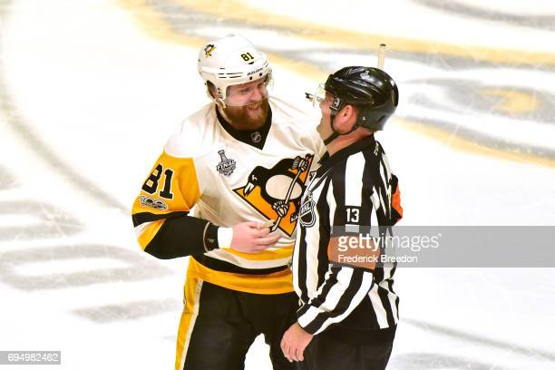 Phil Kessel of the Pittsburgh Penguins reacts with a referee during the first period in Game Six of the 2017 NHL Stanley Cup Final at the Bridgestone...