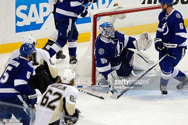 Phil Kessel of the Pittsburgh Penguins scores a goal against Andrei Vasilevskiy of the Tampa Bay Lightning during the third period in Game Three of...