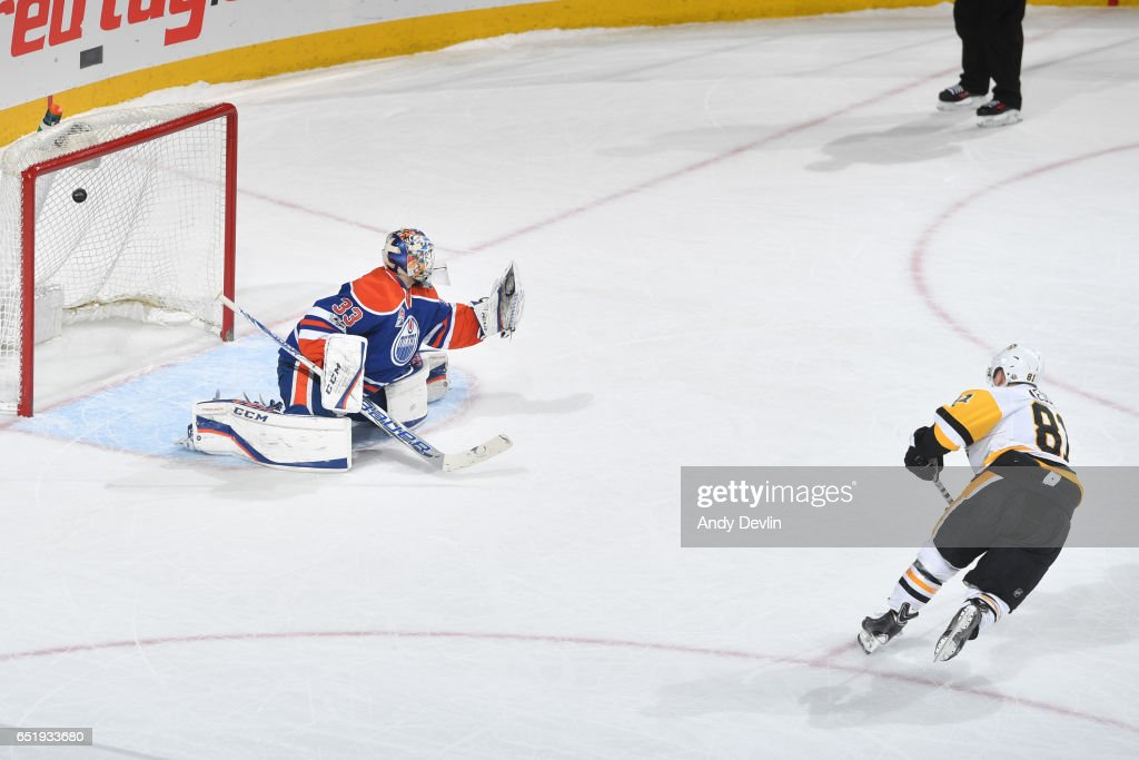Phil Kessel #81 of the Pittsburgh Penguins scores a goal in the shoot out on Cam Talbot #33 of the Edmonton Oilers on March 10, 2017 at Rogers Place in Edmonton, Alberta, Canada.