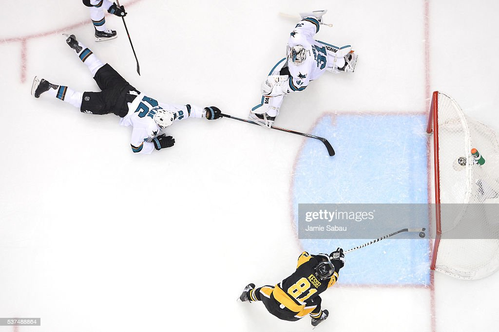 Phil Kessel #81 of the Pittsburgh Penguins scores a second period goal against Martin Jones #31 of the San Jose Sharks as Roman Polak #46 attempts to defend in Game Two of the 2016 NHL Stanley Cup Final at Consol Energy Center on June 1, 2016 in Pittsburgh, Pennsylvania.