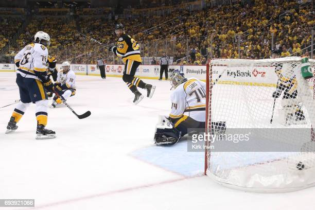 Phil Kessel of the Pittsburgh Penguins scores his team's fifth goal against Juuse Saros of the Nashville Predators in the second period in Game Five...