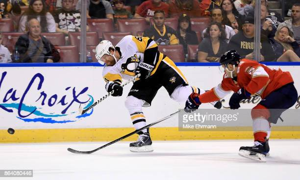 Phil Kessel of the Pittsburgh Penguins shoots during a game against the Florida Panthers at BBT Center on October 20 2017 in Sunrise Florida