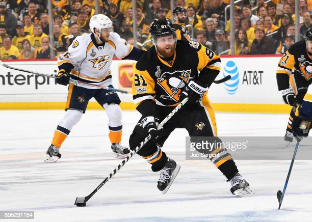 Phil Kessel of the Pittsburgh Penguins skates against the Nashville Predators in Game Five of the 2017 NHL Stanley Cup Final at PPG Paints Arena on...