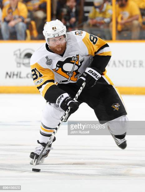 Phil Kessel of the Pittsburgh Penguins skates against the Nashville Predators during Game Three of the 2017 NHL Stanley Cup Final at Bridgestone...