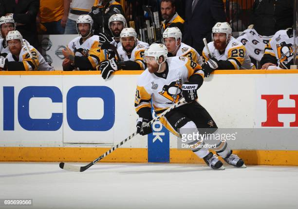 Phil Kessel of the Pittsburgh Penguins turns at the blueline in the firstr period of Game Six of the 2017 NHL Stanley Cup Final at the Bridgestone...