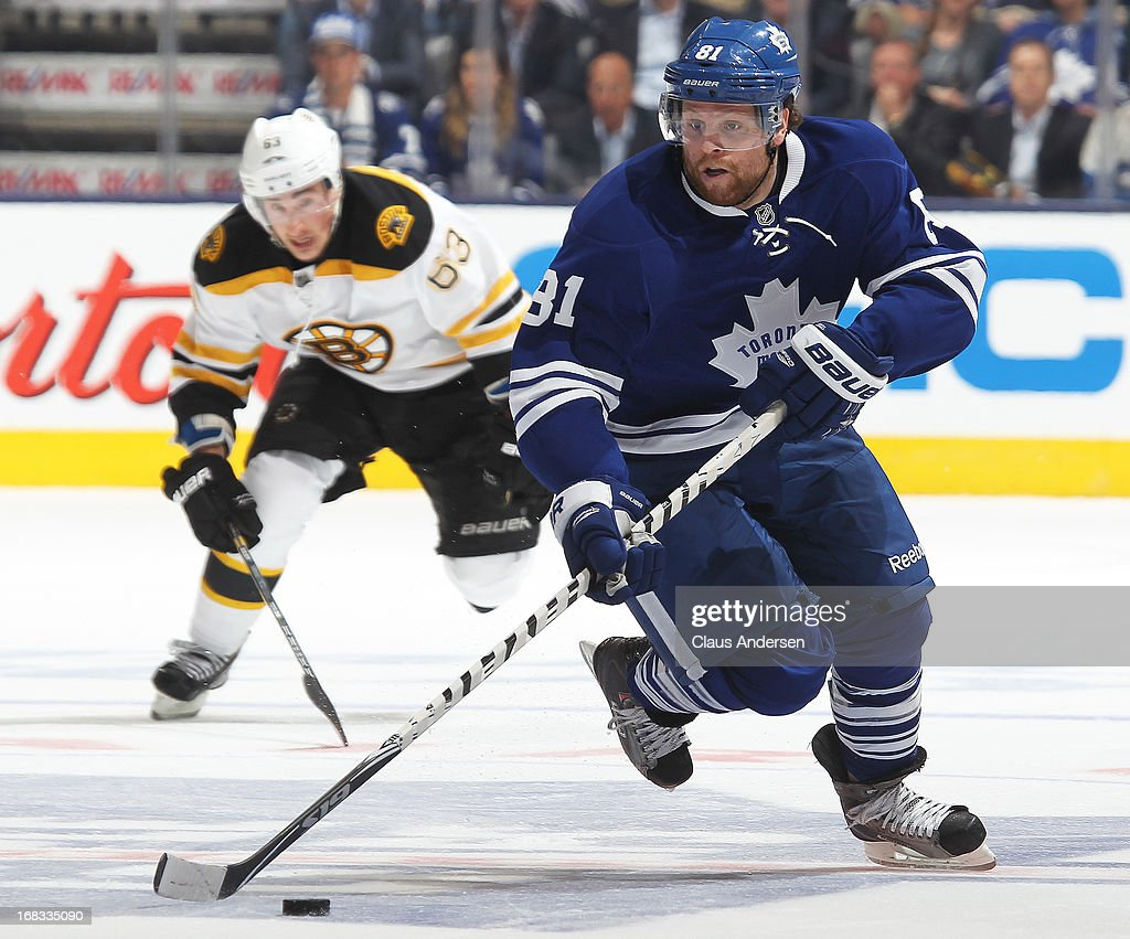 <a gi-track='captionPersonalityLinkClicked' href=/galleries/search?phrase=Phil+Kessel&family=editorial&specificpeople=537794 ng-click='$event.stopPropagation()'>Phil Kessel</a> #81 of the Toronto Maple Leafs breaks away against the Boston Bruins in Game Four of the Eastern Conference Quarterfinals during the 2013 NHL Stanley Cup Playoffs on May 8, 2013 at the Air Canada Centre in Toronto, Ontario, Canada.