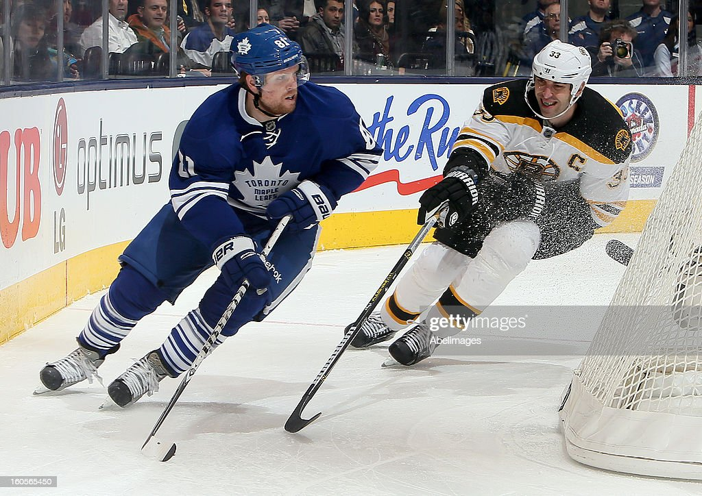 Phil Kessel #81 of the Toronto Maple Leafs gets around Zdeno Chara #33 of the Boston Bruins during NHL action at the Air Canada Centre February 2, 2013 in Toronto, Ontario, Canada.