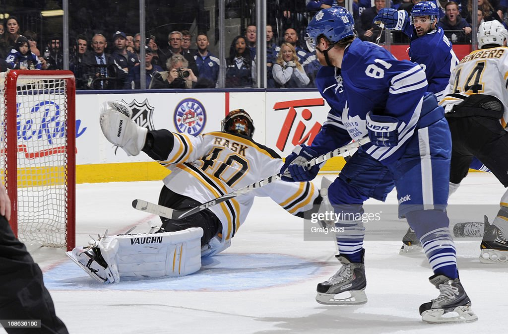 <a gi-track='captionPersonalityLinkClicked' href=/galleries/search?phrase=Phil+Kessel&family=editorial&specificpeople=537794 ng-click='$event.stopPropagation()'>Phil Kessel</a> #81 of the Toronto Maple Leafs scores a third period goal in Game Six of the Eastern Conference Quarterfinals against the Boston Bruins during the 2013 NHL Stanley Cup Playoffs May 12, 2013 at the Air Canada Centre in Toronto, Ontario, Canada.