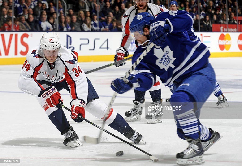 Phil Kessel #81 of the Toronto Maple Leafs shoots the puck as Alexander Urbom #34 of the Washington Capitals defends during NHL game action November 23, 2013 at the Air Canada Centre in Toronto, Ontario, Canada.