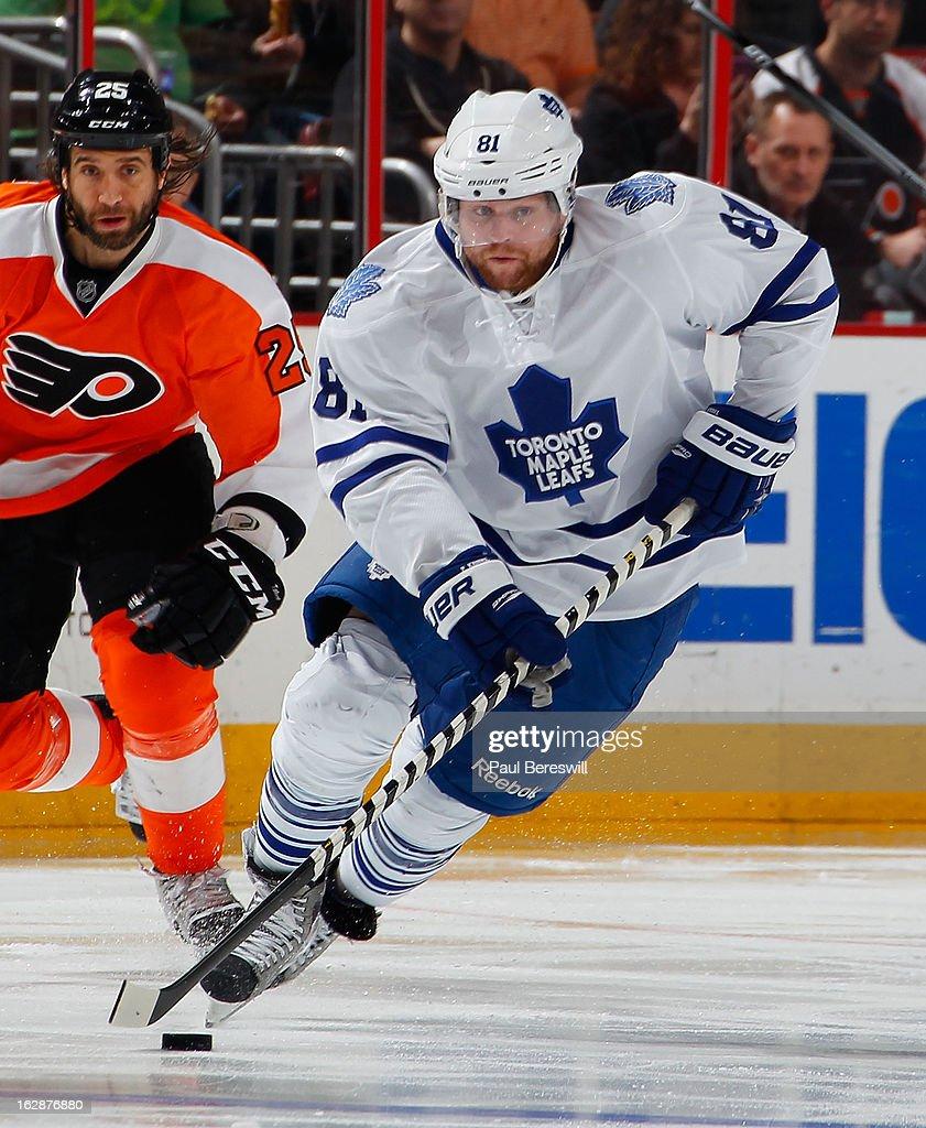 Phil Kessel #81 of the Toronto Maple Leafs skates in an NHL Hockey game against the Philadelphia Flyers at Wells Fargo Center on February 25, 2013 in Philadelphia, Pennsylvania.